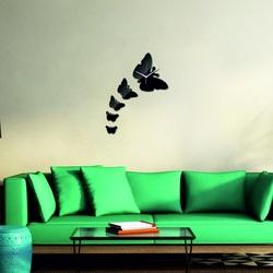 Wanduhr moderner Spiegel BUTTERFLY, 40x40 cm