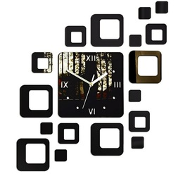 Wandtattoo Uhr Willkommen mit Wunschname 50x40 cm FIGARO MIRROR