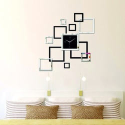 Moderne Wanduhr quadratisch, 40x40 cm