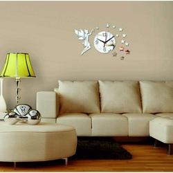 Wandtattoo Uhr Wanduhr zum Wohnzimmer als Dekoration, Fee, 40x40 cm