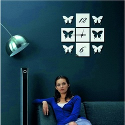 Wanduhr Spiegel Schmetterlingsflügel, 40x40 cm