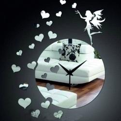 Uhr an der Wand der Spiegelfee des Herzen zum Einfärben DIY JOGOBELA