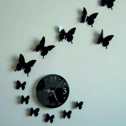 Wall clock sticking mirror butterfly  40 x 40 cm LUNA