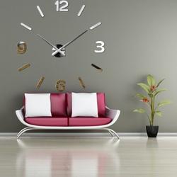Wandtattoo Uhr Kreative Zahlen Plexiglas Spiegel silber