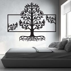 Holzmalerei an der Wand eines Wurzelbaums aus Sperrholzpappel MALFEL