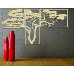 Holzbild an der Wand HANAA Das Bild besteht aus drei Teilen POLONGE WANDTATTOO