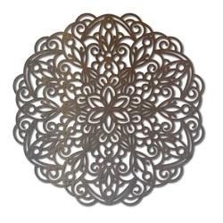SENTOP Geschnitzte hölzerne Mandala Bild an einer Wand aus Sperrholz GOLD