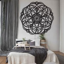 Blume geschnitztes Mandala Holzbild auf Sperrholzwand