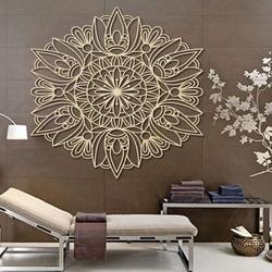 Vyřezávaný květ mandala dřevěný obraz na stěnu z překližky rose