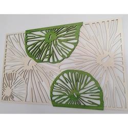 Geschnitztes Bild aus Holzsperrholz Baum Original Pappel, zweite Farbe grün KIWIKI