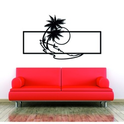 Moderne Malerei an der Wand einer Palme aus Holzsperrholz