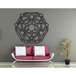 Geometrische Malerei auf einer Wand aus Holzsperrholz