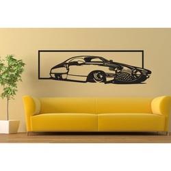 Exklusives Bild an der Wand eines Autos aus historischem Sperrholz